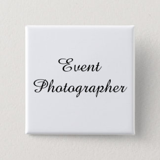 白いボタンのイベントのカメラマンの黒の文字 缶バッジ