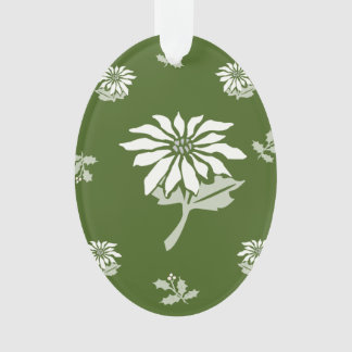 白いポインセチアが付いているクリスマスの花の装飾 オーナメント