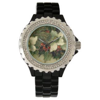 白いポインセチアのヴィンテージのクリスマス 腕時計