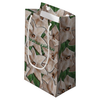 白いポインセチアの花 スモールペーパーバッグ
