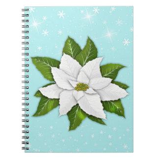 白いポインセチアの螺線形の写真のノート ノートブック