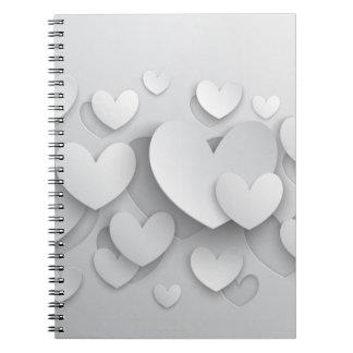 白いポップアップハートのノート ノートブック