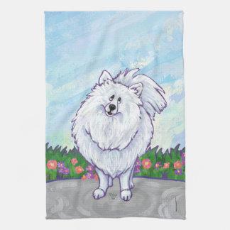 白いポメラニア犬のギフト及び付属品 キッチンタオル