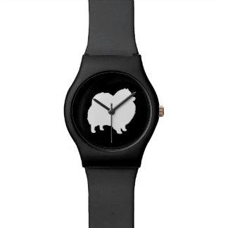 白いポメラニア犬のシルエット 腕時計