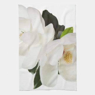 白いマグノリアの花のマグノリアの花柄の花 キッチンタオル