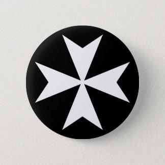 白いマルタ十字 5.7CM 丸型バッジ