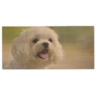 白いマルタ犬 ウッドUSBフラッシュドライブ