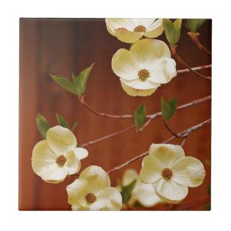 白いミズキの花 タイル