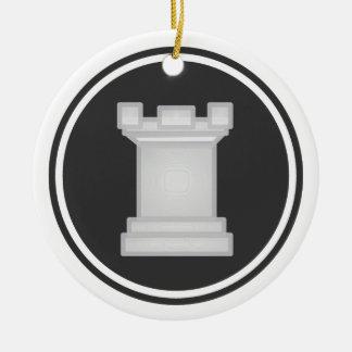 白いミヤマガラスのチェス セラミックオーナメント