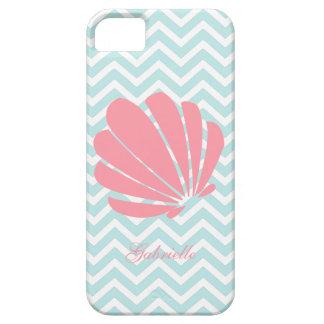 白いミント及びピンクのジグザグパターンの貝殻 iPhone SE/5/5s ケース