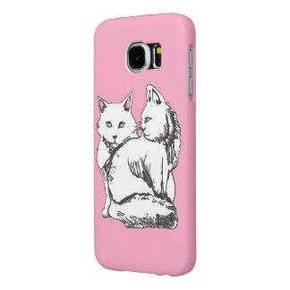 白いメインのあらいぐま猫のピンクのSamsungの銀河系S6の箱 Samsung Galaxy S6 ケース