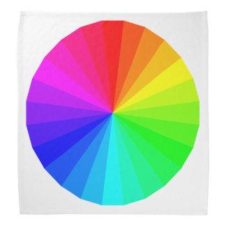 白いモダンで幾何学的な円の虹パターン バンダナ