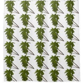 白いヤシの木の熱帯ハワイのテーマパターン シャワーカーテン