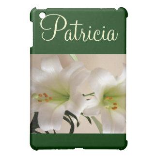 白いユリのiPadの箱w/Name iPad Miniケース