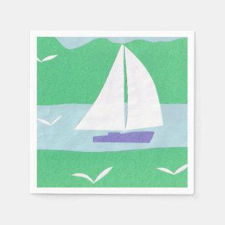 白いヨットのデザインのナプキン スタンダードカクテルナプキン