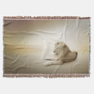 白いライオンによって編まれるブランケット スローブランケット