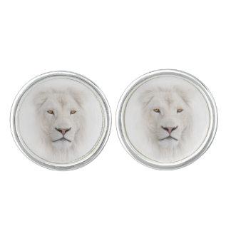 白いライオンの頭部のカフスボタン カフリンクス