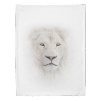 白いライオンの頭部(側面1)の対の羽毛布団カバー 掛け布団カバー