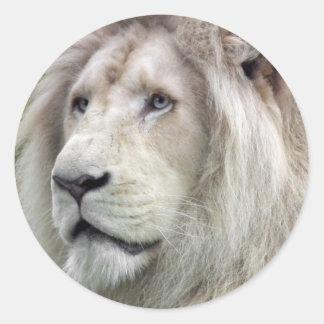 白いライオン ラウンドシール