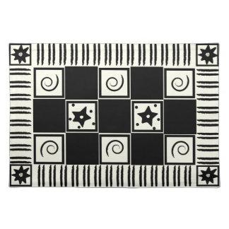白いランチョンマットの抽象芸術の黒 ランチョンマット