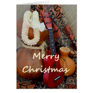 白いリボンのレイとのメリークリスマス カード