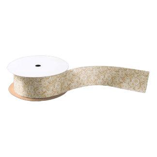 白いリボンの大きい真鍮のペイズリーのダマスク織のデザイン サテンリボン