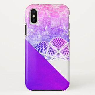 白いレースのラベンダーの紫色のモダンな大理石 iPhone X ケース