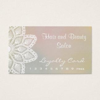 白いレースの毛および美容院のロイヤリティカード 名刺