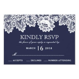 白いレースの濃紺素朴な結婚RSVP カード