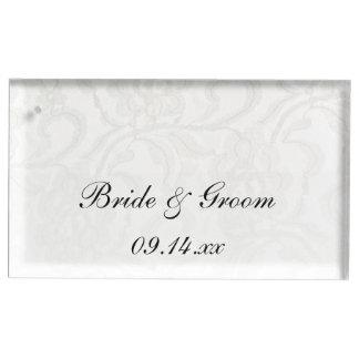 白いレースの結婚式 テーブルカードホルダー