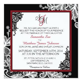 白いレースの黒のモダンなゴシックの結婚式招待状 カード