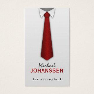白いワイシャツの赤いタイの会計士の名刺 名刺
