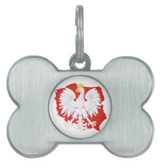 白いワシの犬用の骨のラベルが付いているポーランド ペットネームタグ