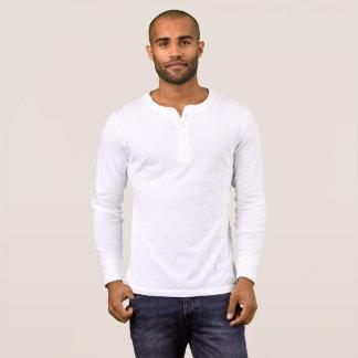 白い人のキャンバスのHenleyの長袖のワイシャツ Tシャツ