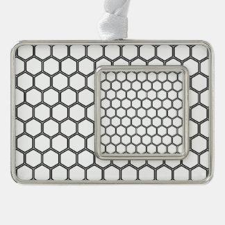 白い六角形3 シルバープレートフレームオーナメント