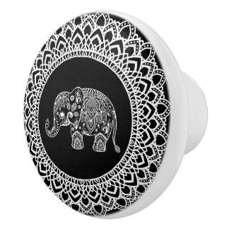 白い円の曼荼羅及び白いペイズリー象 セラミックノブ
