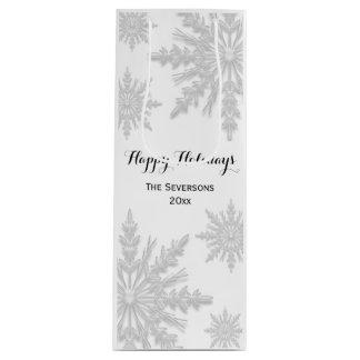 白い冬の雪片の幸せな休日 ワインギフトバッグ