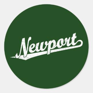 白い動揺してのニューポートの原稿のロゴ ラウンドシール