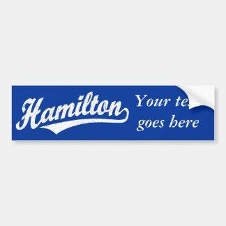 白い動揺してのハミルトン原稿のロゴ バンパーステッカー