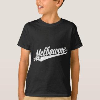 白い動揺してのメルボルンの原稿のロゴ Tシャツ