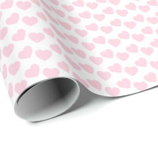 白い包装紙の淡いピンクのハートパターン ラッピングペーパー