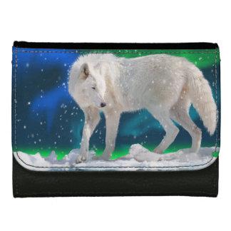 白い北極オオカミ及びNorthern Lightsの野性生物の芸術