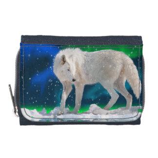 白い北極オオカミ及びNorthern Lightsの野性生物の芸術 ウォレット