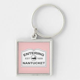 白い及びピンク入るNantucketの記念品の印 キーホルダー