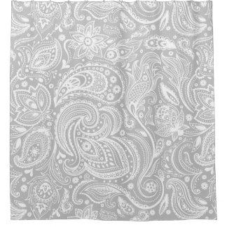 白い及び灰色の花のペイズリーのレースパターン シャワーカーテン