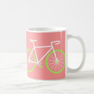 白い及び緑自転車 コーヒーマグカップ
