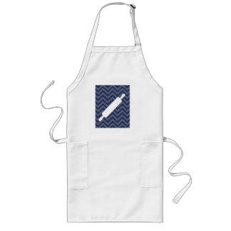 白い台所-シェブロンの麺棒 ロングエプロン