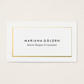 白い名刺のテンプレートの金ゴールドのボーダー 名刺