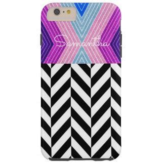白い名前のピンク、青、灰色色のデザイン- シェル iPhone 6 ケース