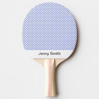 白い名前をカスタムするのエレガントでシックで青い水玉模様 卓球ラケット